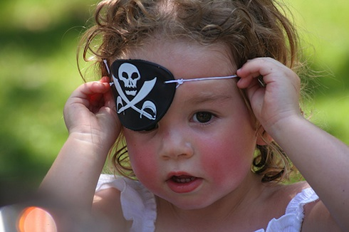 A little girl dressed up as a pirate for Halloween in Cabo