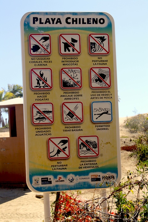 A sign at Chileno Beach in Los Cabos Mexico