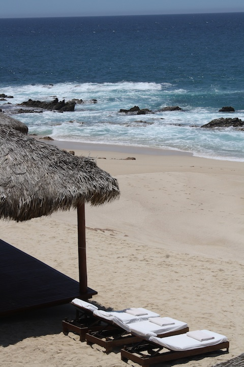 Lounge chairs on the beach at the One&Only Palmilla