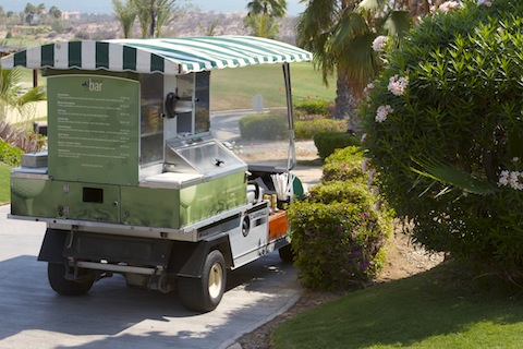 Golf course in Cabo often have snack carts where you can get refreshments.