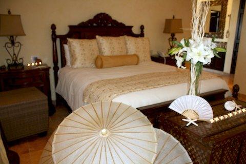 A bedroom in Villa de Los Suenos, a Cabo San Lucas luxury villa.